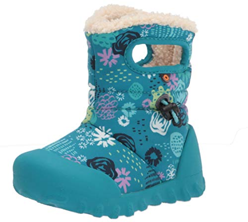 BOGS Baby B-Moc Snow Boot Rain, Garden Party-Teal, 4 US Unisex Infant
