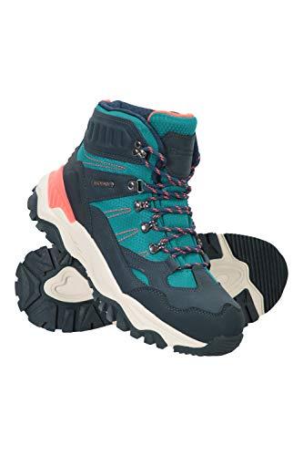 Mountain Warehouse Hike Botas de montaña impermeables para mujer - Calzado con forro y pala de malla, tacos profundos, topes en talón y puntera, material reciclado Verde agua Talla Zapatos Mujer 38 EU