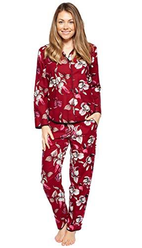 Cyberjammies 4268/4269 Schlafanzug-Set Alice, gewebt, mit Blumenmuster Gr. 48, burgunderfarben