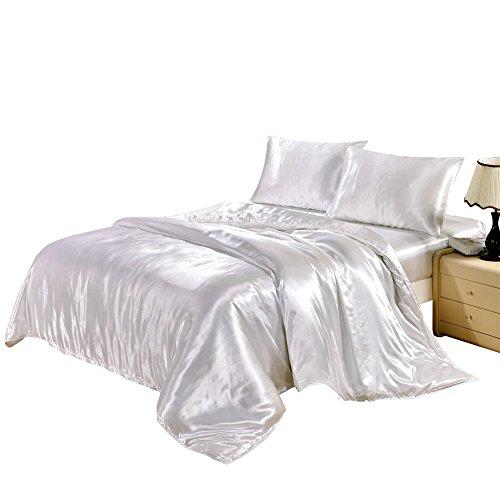 HYSENM Set Bettwäsche Kissenhülle x 2 Satin einfarbig glatt bequem Verschiedene Größen, Weiß Bettwäsche(200 x 200cm)+2 x Kissenhülle(50 x 75cm)
