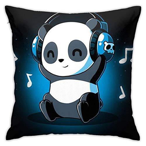 Auriculares de animal panda blanco y negro MusicSoft Auriculares de animal panda blanco y negro Funda de almohada cuadrada de música Cómoda funda de almohada Cojines de moda para ropa de cama, sala de
