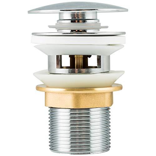 Frap Universal Ablaufgarnitur POP UP Ventil Ablaufventil für Waschtisch/Waschbecken mit/ohne Überlauf, 1 1/4 Zoll aus Messing, Chrom