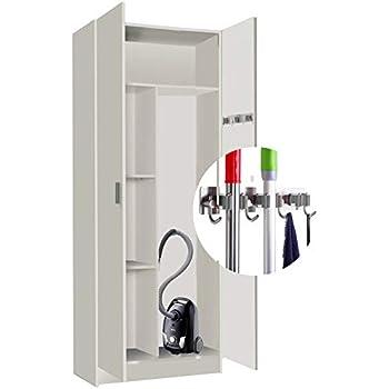 1 Puerta con Colgadores INCLUIDOS Poco Fondo HABITMOBEL Armario Mueble Multiusos Escobero