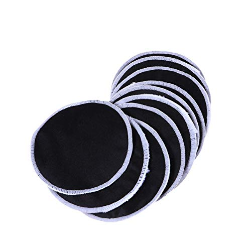 Lot de 12 tampons démaquillants ronds réutilisables en bambou pour le visage - Double face - Noir et blanc