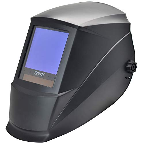 """Antra AH7-860-0000 Solar Power Auto Darkening Welding Helmet AntFi X60-8 Jumbo Viewing Size 3.78""""X3.5"""" Variable Shade 4/5-9/9-13 with Grinding Feature Extra Lens Cover Good for Arc Tig Mig Plasma"""