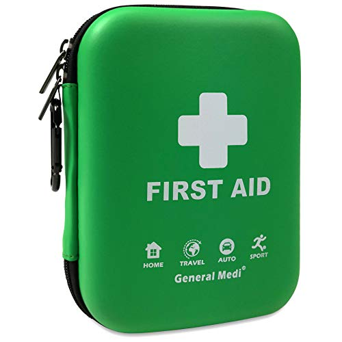 First Aid Kit - 170 Pieces Hard Case and Lightweight - Includes 2 x Eyewash,Instant Cold Pack,Emergency Blanket, CPR Face Mask for Travel, Home, Office, Vehicle, Camping, Workplace & Outdoor (Green)