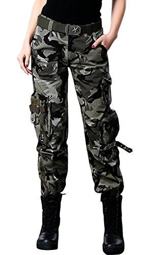 chouyatou Women's Active Loose Fit Military Multi-Pockets Wild Cargo Pants (Medium, Camouflage)