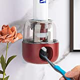Automatic Toothpaste Dispenser, Suitable for Adults and Children Hands-Free Wall-Mounted Toothpaste Squeezer, Easy to Clean and Install Bathroom Accessories Toothpaste Holder Dispenser. (Red)