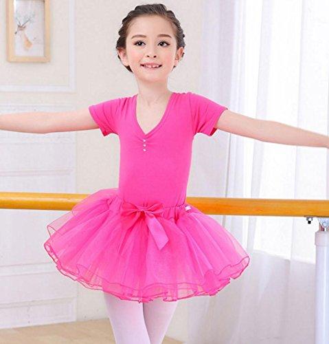 HUOFEINIAO-Tanzkleidung Kindertanzkostüme Übungskleidung für Mädchen Herbst- und Sommerkostüme Langärmeliger Kinder Tutus aus Baumwolle, 140cm, pink 1