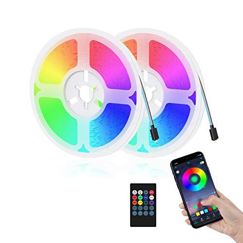 AGRLTOGD 10M Bluetooth Tiras LED Musical 5050 RGB,Tira de Luz LED de 10m con IR Control Remoto, Tiras de Led Flexibles para Decoración de Fiestas de Cocina de Sala [eficiencia energética A+++]