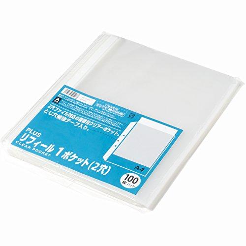 スマートマットライト プラス リフィル 透明 A4 1ポケット 2穴 徳用100枚 RE-172PP 87-695