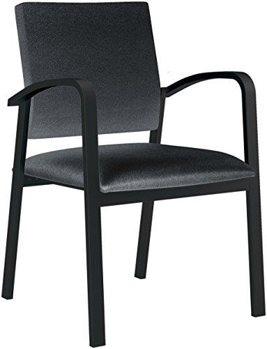 Lesro Newport Healthcare Vinyl Guest Chair, Renaissance Carbon, Black