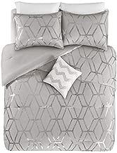 Comfort Spaces Vivian 3 Piece Comforter Set Ultra Soft All Season Lightweight Microfiber Geometric Metallic Print Hypoallergenic Bedding, Twin/Twin XL, Grey/Silver
