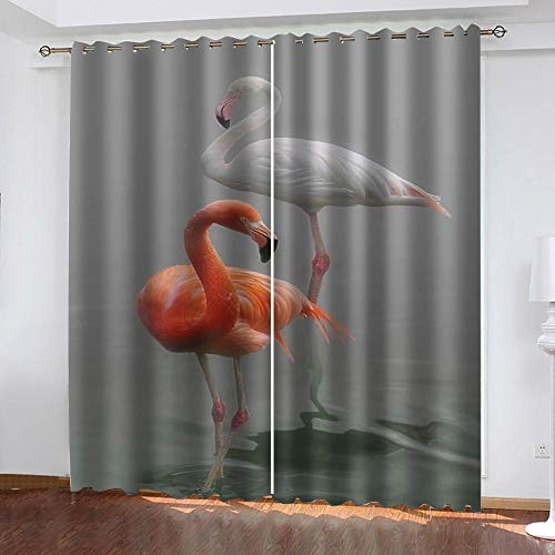 MXYHDZ Opacas Cortinas Dormitorio - Animal Flamenco Rojo Impresión 3D Aislantes de Frío y Calor 90% Opacas Cortinas - 234 x 229 cm Salon Cocina Habitacion Niño Moderna Decorativa