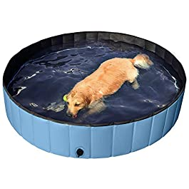 YAHEETECH Blue Foldable Hard Plastic Dog Pet Bath Swimming Pool Collapsible...