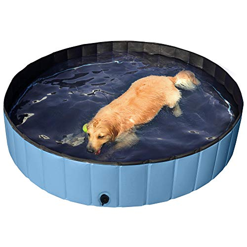 YAHEETECH Blue Foldable Hard Plastic Kiddie Baby Dog Pet Bath Swimming Pool Collapsible Dog Pet Pool Bathing Tub Kiddie Pool for Kids Pets Dogs Cats-63 x 11.8 inch,XXL