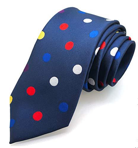 Gemelolandia Corbata de Seda Azul con Topos Multicolores