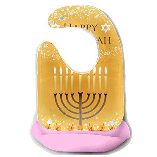 Baby Boy Feeding Bibs Vector Hanukkah Menorah David Star Detachable Silicone Feeding Apron Mouse Towel Baby Feeding Dribble Drool Bib Infant Personalized Baby Bib