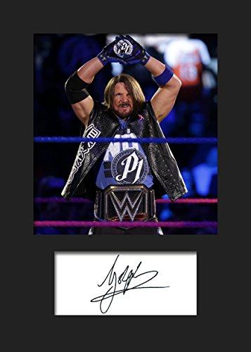 AJ Styles WWE #1 | Signierter Fotodruck | A5 Größe passend für 6x8 Zoll Rahmen | Maschinenschnitt | Fotoanzeige | Geschenk Sammlerstück