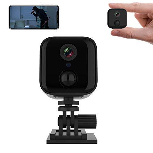 0℃ Outdoor Mini Cámara 1080p, Inalámbrica, WiFi, con Detección de Movimiento, Seguridad Doméstica Inteligente, Portátil, Bolsillo IP para iPhone, Android, Smartphone, Videocámara Interior de Exterior