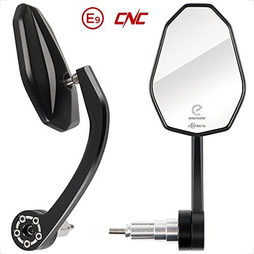 Evermotor Universal CNC Aluminium E-geprüft Lenkerendenspiegel Motorrad Rückspiegel Spiegel Set