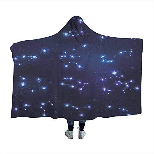 Constellation Wearable Hooded Blanket Hood Poncho Realistische Celestial Gemini Leo Pisces Schütze Galactic Winter Wearable Hooded Blanket Hoodie Mantel Dunkelblau Hellblau Lila 60x50 Zoll