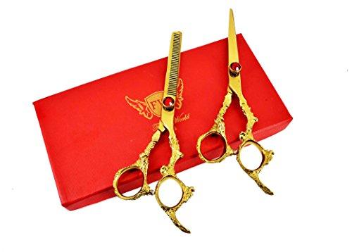 Focus World - Tijeras profesionales para peluquería (acero japonés, 16,5 cm, incluye estuche incluido), color dorado