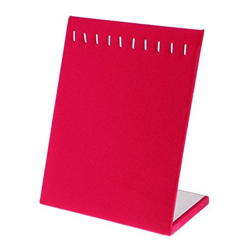 joyMerit Terciopelo 10 Ganchos Collar Cadena Colgante Titular Exhibidor Soporte de Mostrador Pad - Rosa roja, Individual
