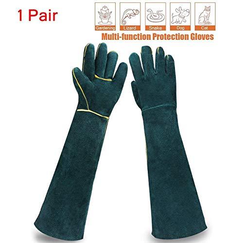 Sporting Style 23.6IN Animal Handling Gloves Bite Proof Kevlar Reinforced Leather Padding Dog,Cat Scratch,Bird Handling Falcon Gloves Grabbing,Reptile Squirrel Snake Bite,Dark Green