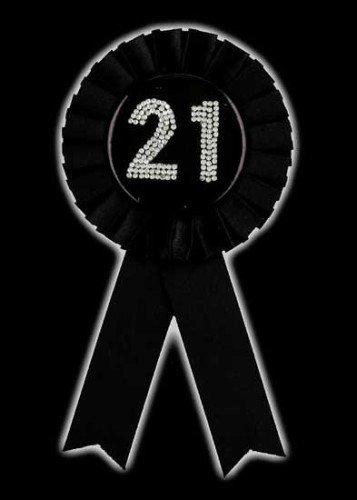 Schwarz und Silber Diamant Alter 21 Rosette Anhänger Award Band