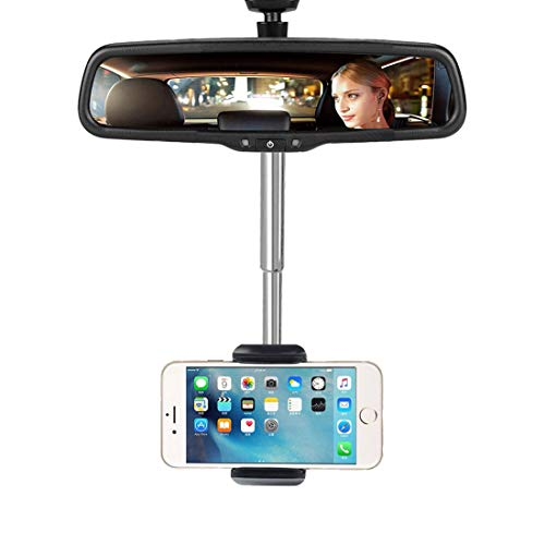 New 360° Rearview Mirror Phone Holder,Universal Adjustable Car Phone Stand Holder Cradle Car Rearview Mirror Snap-on Navigation Frame for 4.0-6.1 Inch Mobile Phones GPS Black
