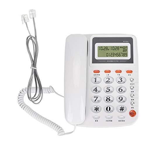 Dilwe Teléfono con Cable 8018A con identificador de Llamadas, teléfono de Escritorio con Cable de línea única, teléfono de Escritorio Fijo teléfono Fijo para el hogar y la Oficina