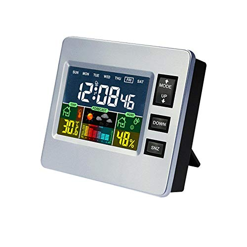 Depory Wetterstation mit Außensensor Innen und Außen Funkwetterstation mit Farbdisplay Digital Thermometer Hygrometer Regenmesser und Uhrzeit Anzeige für Zuhause Büro Hausgarten