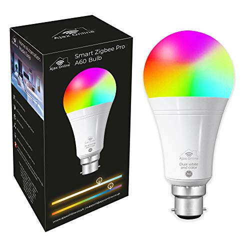 Ajax Online Smart Zigbee Pro A60 LED RGBCW Focos – Funciona con Philips Hue* SmartThings, Alexa y Google Home (requiere un paquete) Elige hasta 16 millones de colores (B22 bayoneta)