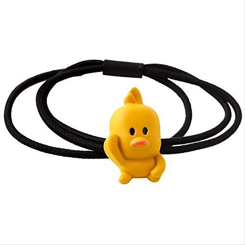 5 paquetes de lindos accesorios para el cabello de pato amarillo, atados con un tocado de goma
