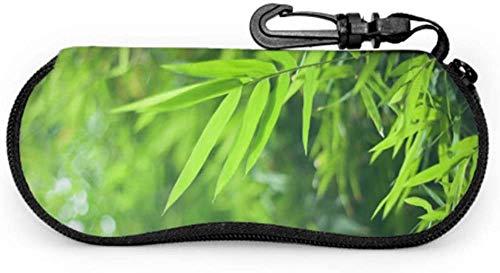 MODORSAN Estuches de anteojos suaves de hojas verdes de bosque de bambú para hombres Estuche delgado para gafas Estuche blando de neopreno portátil ligero con cremallera Estuches para gafas de sol