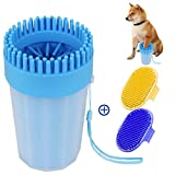 Adenta Dog Paw Washer, Portable Dog Paw Cleaner for Medium-Sized Dogs, Pet Paw Cleaning Cup with Soft Silicone Bristles, Paw Cleaner Set with Two Dog Cleaning Brushes