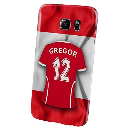 PhotoFancy Samsung Galaxy S6 Handyhülle Premium – Personalisierte Hülle mit Namen Gregor – Case mit Design Fußball-Trikot Österreich zur WM in Russland 2018