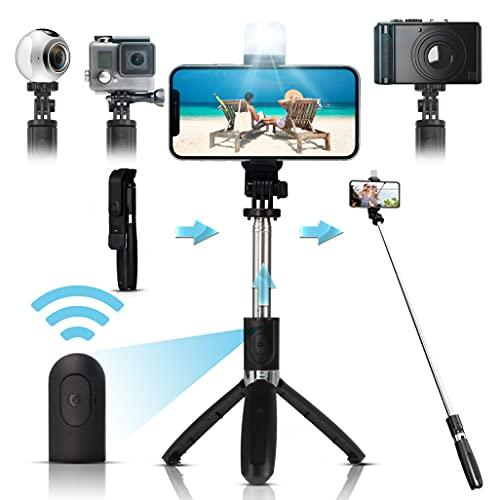 Arikaree® Bastone Selfie Stick 2021 Con Luce Per Selfie LED, Bluetooth, Treppiede Smartphone, Asta Selfie Estensibile, Smartphone iPhone, Samsung, Huawei, Macchine Fotografiche e GoPro (Nero+Led)