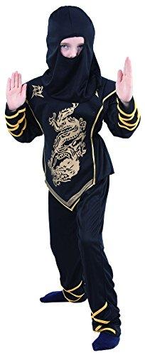 Rire Et Confetti - Fibnin020 - Déguisement pour Enfant - Costume Petit Guerrier Ninja Or - Garçon - Taille M