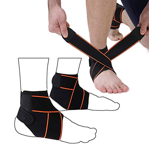 WELLOVE 2PCS Ankle Brace Ankle Fixed Ankle Support Sprained Wrist Strap for Sports Protection for Men and Women