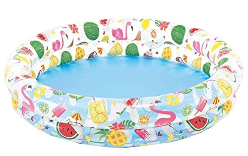 JOVAL - Piscina Tropical Frutas y Flamenco Infantil, de 122x25 centímetros de diámetro, con Colores Vibrantes para Jardin terraza o casa…