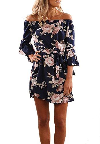 Relipop Summer Dress Off Shoulder Beach Dress 3 4 Sleeve Floral Mini Dress (Medium, Dark Blue)