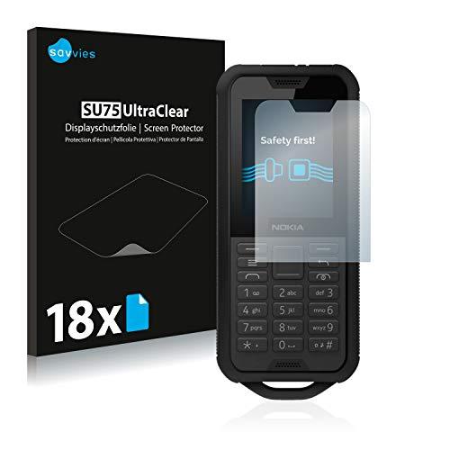Savvies 18x Schutzfolie kompatibel mit Nokia 800 Tough Bildschirmschutz-Folie Ultra-transparent