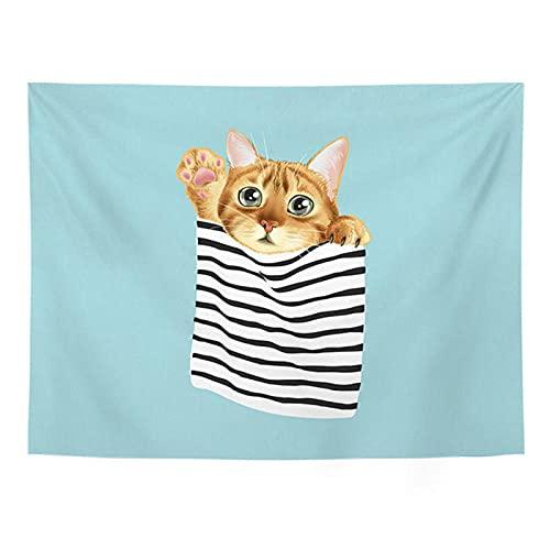 DXYM Lindo gato fondo tela habitación decorativa pared tela tela colgante dormitorio cabecera decoración fondo pared tapiz 51 * 59 pulgadas