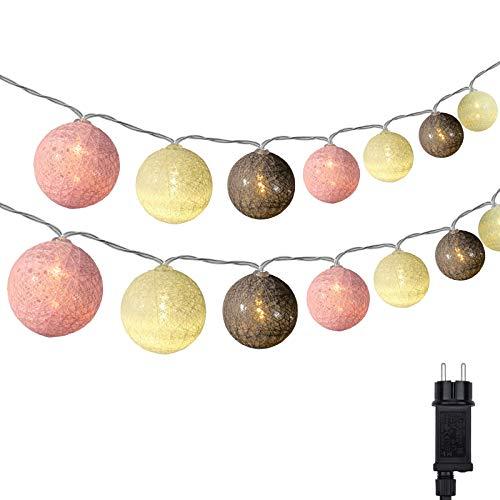 Cotton Ball Lichterkette, DeepDream 4.5m 20 LED Kugeln Lichterkette Innen Lichterkette Baumwollkugeln Lichterkette mit Stecker für Kinderzimmer, Schlafzimmer, Hochzeit, Party, Festival (Rosa)