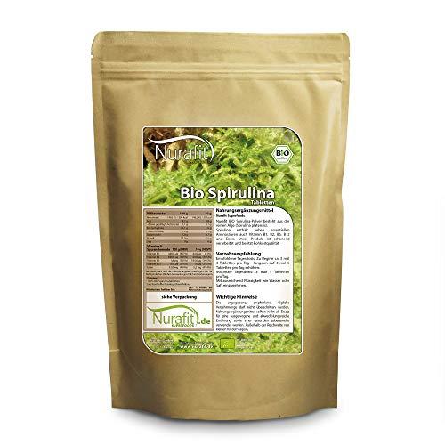 Nurafit BIO Spirulina Tabs I 2000 Kapseln I natürliche Algen Superfood Tabletten Presslinge I Mit Proteinen und B-Vitaminen I 500g / 0.5kg