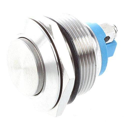TOOGOO(R) Interruptor de boton pulsador momentaneo de acero inoxidable 22mm Montaje empotrado SPST ENCENDIDO / APAGADO
