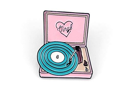 Naehgedoens.de Pin Vinyl platenspeler | Roze Turquoise | Broche | Speldje | Aansteker
