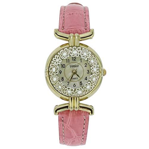 GlassOfVenice Orologio Millefiori in Vetro di Murano con Cinturino in Pelle - Rosa